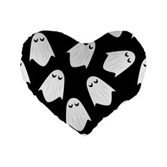 Ghost Halloween Pattern Standard 16  Premium Heart Shape Cushions