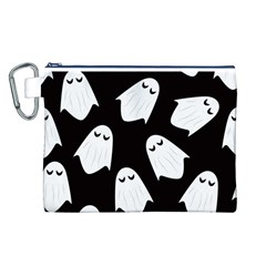 Ghost Halloween Pattern Canvas Cosmetic Bag (L)