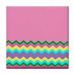 Easter Chevron Pattern Stripes Tile Coasters