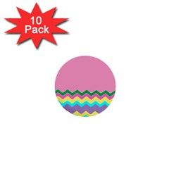 Easter Chevron Pattern Stripes 1  Mini Buttons (10 Pack)
