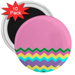Easter Chevron Pattern Stripes 3  Magnets (10 Pack)