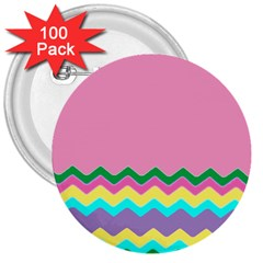 Easter Chevron Pattern Stripes 3  Buttons (100 Pack)