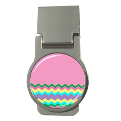 Easter Chevron Pattern Stripes Money Clips (round)