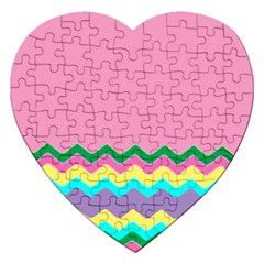 Easter Chevron Pattern Stripes Jigsaw Puzzle (heart)
