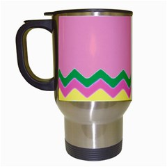 Easter Chevron Pattern Stripes Travel Mugs (White)