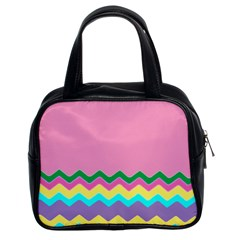 Easter Chevron Pattern Stripes Classic Handbags (2 Sides)