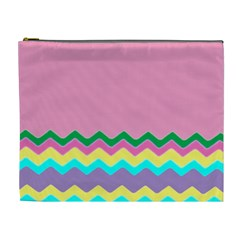 Easter Chevron Pattern Stripes Cosmetic Bag (xl)