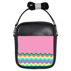 Easter Chevron Pattern Stripes Girls Sling Bags