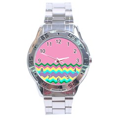 Easter Chevron Pattern Stripes Stainless Steel Analogue Watch