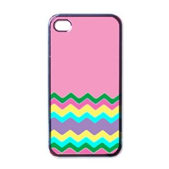 Easter Chevron Pattern Stripes Apple Iphone 4 Case (black)