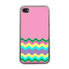 Easter Chevron Pattern Stripes Apple Iphone 4 Case (clear)