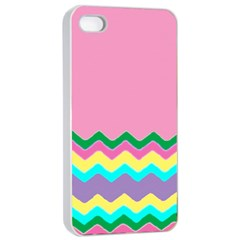 Easter Chevron Pattern Stripes Apple Iphone 4/4s Seamless Case (white)