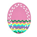 Easter Chevron Pattern Stripes Oval Filigree Ornament (Two Sides) Front
