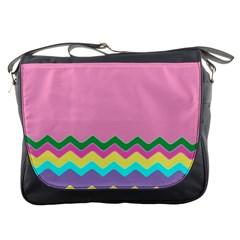 Easter Chevron Pattern Stripes Messenger Bags