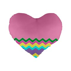 Easter Chevron Pattern Stripes Standard 16  Premium Heart Shape Cushions