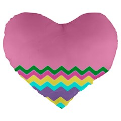 Easter Chevron Pattern Stripes Large 19  Premium Heart Shape Cushions
