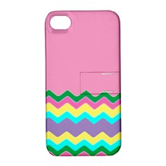 Easter Chevron Pattern Stripes Apple Iphone 4/4s Hardshell Case With Stand