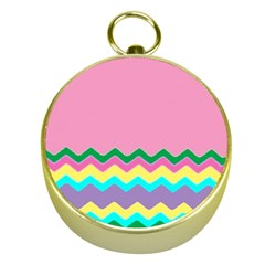 Easter Chevron Pattern Stripes Gold Compasses