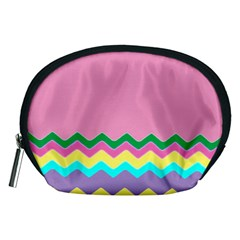 Easter Chevron Pattern Stripes Accessory Pouches (medium)
