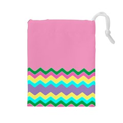Easter Chevron Pattern Stripes Drawstring Pouches (large)
