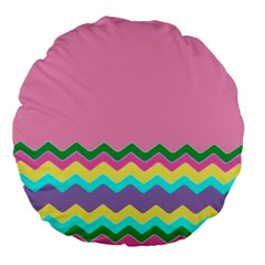 Easter Chevron Pattern Stripes Large 18  Premium Flano Round Cushions