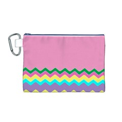 Easter Chevron Pattern Stripes Canvas Cosmetic Bag (m)