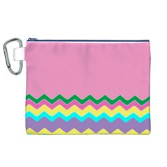 Easter Chevron Pattern Stripes Canvas Cosmetic Bag (xl)