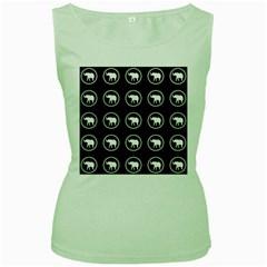 Elephant Wallpaper Pattern Women s Green Tank Top