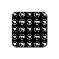 Elephant Wallpaper Pattern Rubber Square Coaster (4 pack)