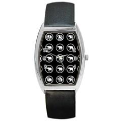 Elephant Wallpaper Pattern Barrel Style Metal Watch
