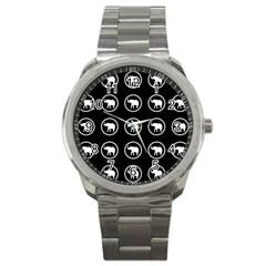 Elephant Wallpaper Pattern Sport Metal Watch