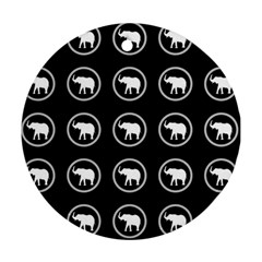 Elephant Wallpaper Pattern Round Ornament (two Sides)