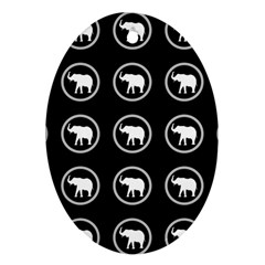 Elephant Wallpaper Pattern Oval Ornament (two Sides)