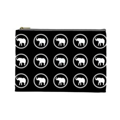 Elephant Wallpaper Pattern Cosmetic Bag (large)
