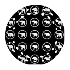 Elephant Wallpaper Pattern Round Filigree Ornament (two Sides)