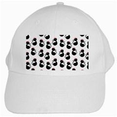 Cat Seamless Animal Pattern White Cap