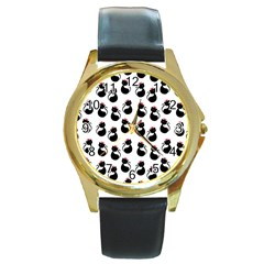Cat Seamless Animal Pattern Round Gold Metal Watch