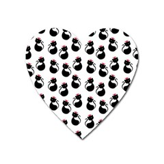 Cat Seamless Animal Pattern Heart Magnet