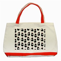 Cat Seamless Animal Pattern Classic Tote Bag (red)