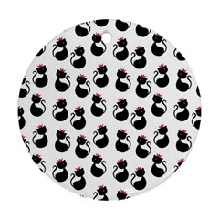 Cat Seamless Animal Pattern Round Ornament (two Sides)