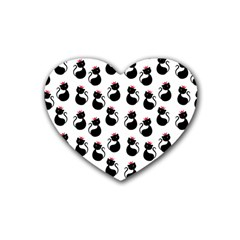 Cat Seamless Animal Pattern Heart Coaster (4 Pack)