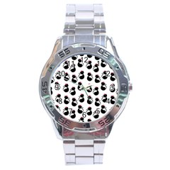 Cat Seamless Animal Pattern Stainless Steel Analogue Watch