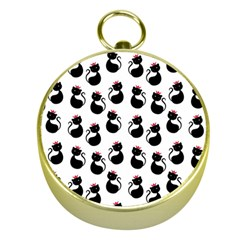 Cat Seamless Animal Pattern Gold Compasses