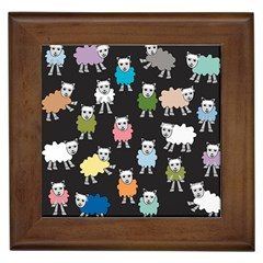 Sheep Cartoon Colorful Framed Tiles