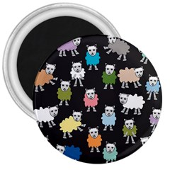 Sheep Cartoon Colorful 3  Magnets