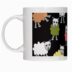 Sheep Cartoon Colorful White Mugs