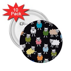 Sheep Cartoon Colorful 2.25  Buttons (10 pack)