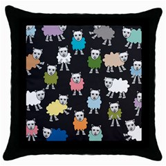Sheep Cartoon Colorful Throw Pillow Case (Black)