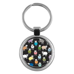Sheep Cartoon Colorful Key Chains (round)