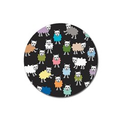 Sheep Cartoon Colorful Magnet 3  (round)